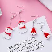 耳環.俏皮雪人聖誕帽壓克力垂墜耳環.白鳥麗子