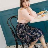 CANTWO日系網紗印花雙層紗裙-深藍