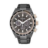 CITIZEN Eco-Drive低調黑金腕錶/黑面黑鋼/CA4207-53H