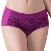 思薇爾-撩波葉之舞系列M-XL蕾絲中低腰平口內褲(緋紫色)