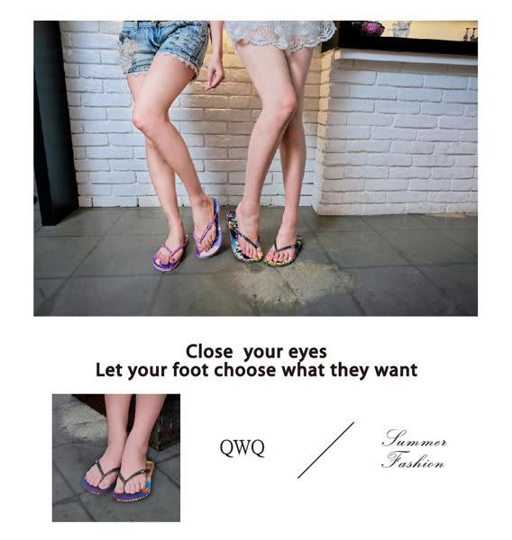 QWQ創意鞋- Ruffian Dog夾腳人字拖鞋-藍 (史帝夫系列 )無鑽