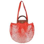 【南紡購物中心】LONGCHAMP LE PLIAGE FILET系列網狀棉質手提/肩背兩用包(橙)