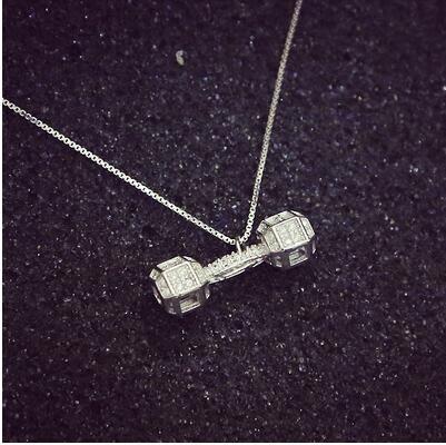 個性小啞鈴 微鑲項鏈女 百搭鎖骨鏈銀飾品PL113【男人與流行】