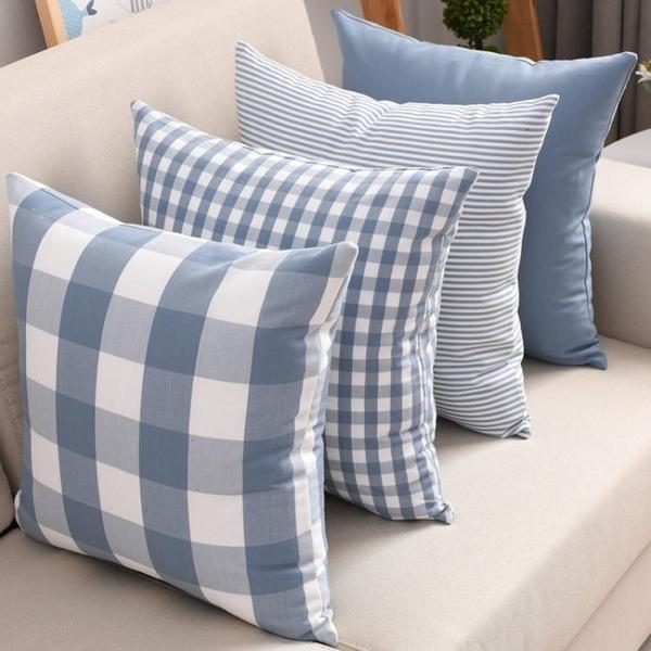 北歐格子靠墊套客廳沙發抱枕套床頭大靠背套辦公室靠枕不含芯靠墊 樂活生活館