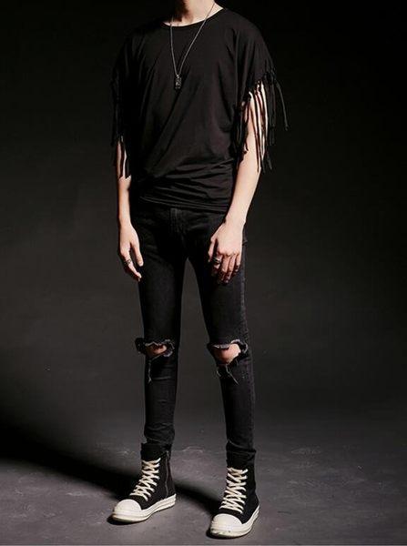 找到自己 韓國潮流 個性 衣袖流蘇 時尚 街頭潮男 夜店 DJ 發型師 必備 短袖T恤 特色短T