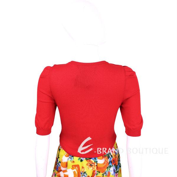 BOUTIQUE MOSCHINO 紅色花朵別針短袖針織上衣 1620529-54