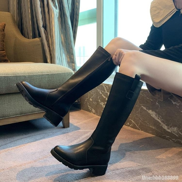膝上靴 靴子女側拉鏈中筒靴新款加絨高筒顯瘦不過膝大筒圍騎士長筒靴 城市科技