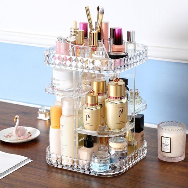 方形款旋轉壓克力收納盒 化妝品收納 透明收納架化妝櫃彩妝盒刷具收納口紅收納 桌上收納(C214-9)