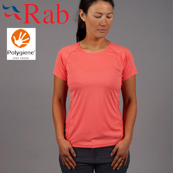Rab 英國 QBU45-CL珊瑚紅 女抗菌排汗短T恤