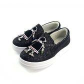韓系 貼鑽小木偶 全亮面厚底休閒鞋《7+1童鞋》E214 黑色