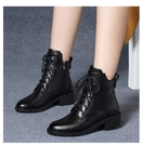 真皮馬丁靴女新款2020新款秋冬季百搭佳人紅蜻蜓女鞋平底短靴中跟一米陽光