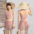 新款泳衣女 分體兩件套韓國保守小香風遮肚顯瘦小胸聚攏學生遊泳衣