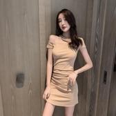 緊身洋裝 女神范夏氣質時尚修身顯瘦性感斜肩包臀掛脖短 韓流時裳