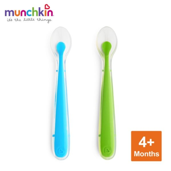 munchkin滿趣健-防滑三格餐盤2入-綠/藍+矽膠湯匙2入-藍/綠