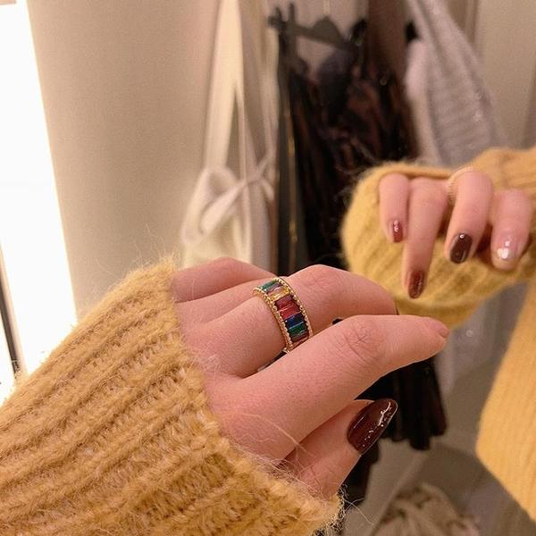 彩虹戒指女時尚個性日式輕奢夸張食指戒冷淡風指環小眾設計 淇朵市集