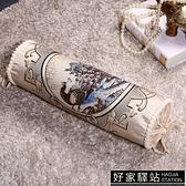 記憶枕貢緞提花枕圓糖果枕成人單人枕圓枕頭沙發抱枕靠墊蕎麥枕
