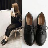 小皮鞋復古英倫繫帶圓頭小皮鞋中跟單鞋粗跟牛津鞋大碼女鞋 時光之旅
