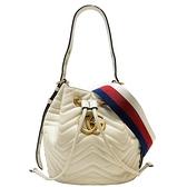 GUCCI 古馳 GG Marmont系列白色牛皮肩背斜背水桶包 Bucket Bag 476674 【BRAND OFF】