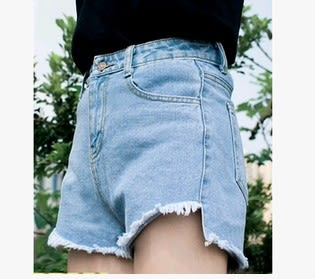 EASON SHOP(GU0082)新款韓版復古高腰毛邊抽鬚前短後長寬鬆牛仔短褲熱褲水洗單寧黑色白色純色女