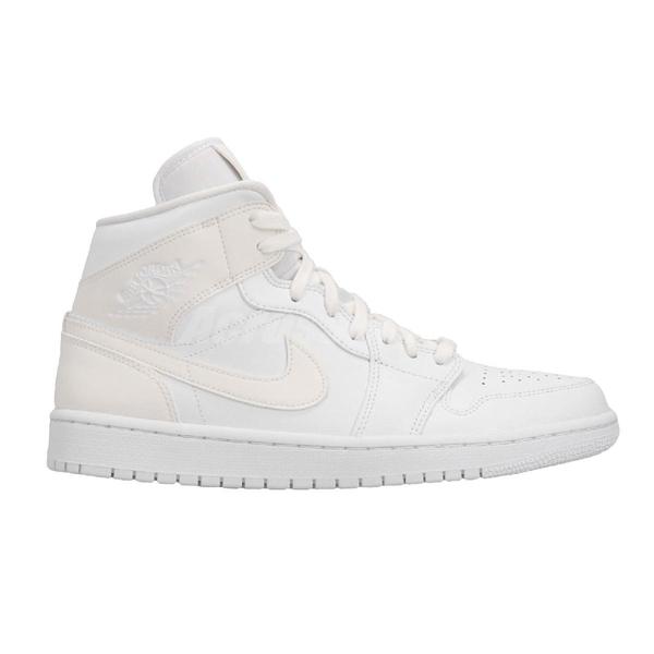 Nike Wmns Air Jordan 1 Mid White 白 全白 喬丹 1代 飛人 AJ1 中筒 女鞋 男鞋【PUMP306】 BQ6472-112