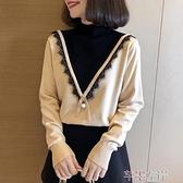 蕾絲毛衣 半高領毛衣女秋冬寬鬆顯瘦上衣甜美蕾絲長袖針織打底衫 芊墨左岸