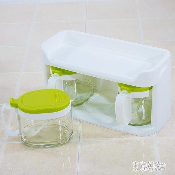 茶花玻璃調味罐 套裝雙層家用廚房調味瓶罐鹽罐調料400ml*3 BT4394『東京潮流』