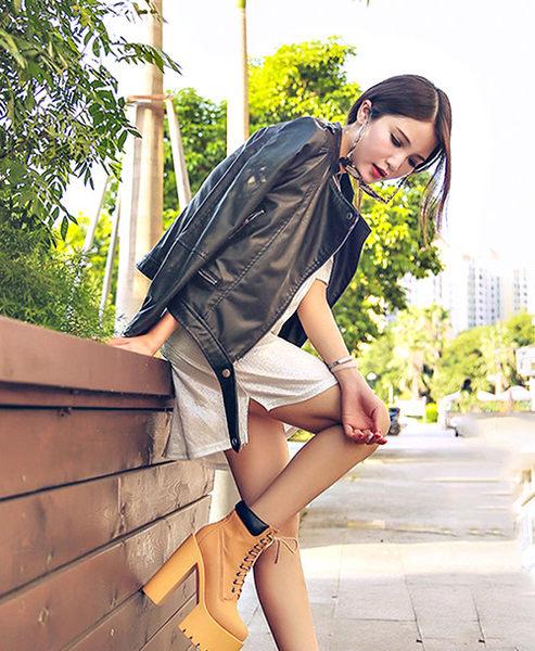 克妹Ke-Mei【ZT36633】歐洲站 高檔馬甲綁帶黑白撞色恨天高皮質粗跟馬丁靴