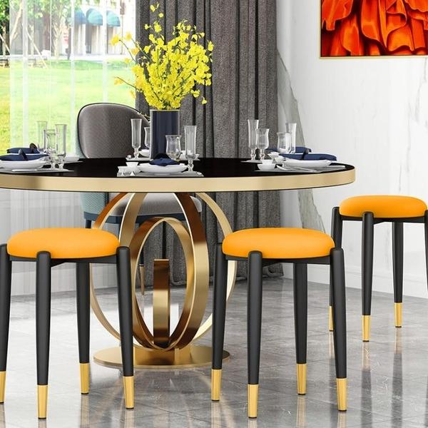 輕奢凳子家用餐凳客廳圓凳子現代簡約網紅懶人餐桌凳經濟型小板凳 晴天時尚