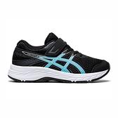 Asics Contend 6 Ps [1014A087-003] 中童鞋 慢跑鞋 運動休閒 輕量 支撐 緩衝 黑 水藍