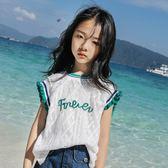 女童短袖2019新款夏季蕾絲無袖背心中大童兒童t恤女孩上衣打底衫【萬聖節鉅惠】