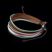 真皮編織手環-多線設計生日情人節禮物男女手鍊3色73cs11【時尚巴黎】