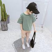 男童短袖t恤條紋夏裝新款兒童11-13周歲大童純棉上衣韓版童裝 全館免運