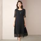 2021夏季新款仿桑蠶絲洋裝/連衣裙女黑色長款大碼寬鬆高端仿真絲裙子潮 快速出貨
