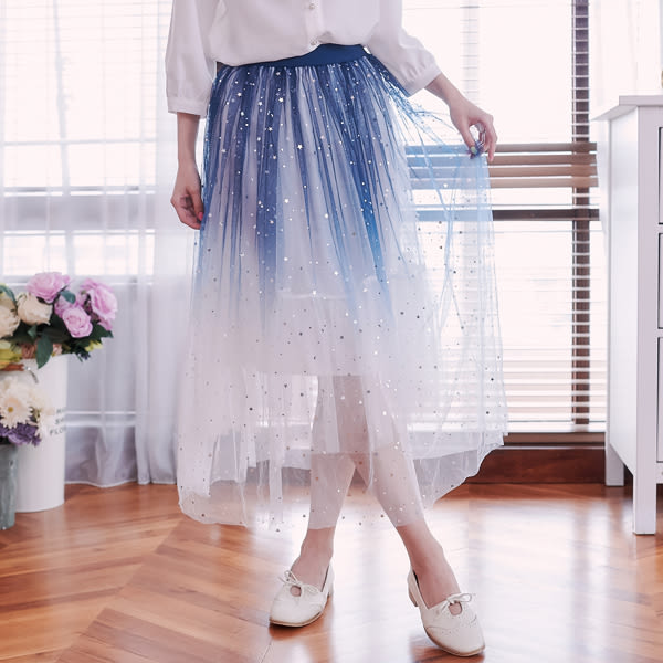 裙子 星星月亮漸層鬆緊紗裙長裙-Ruby s 露比午茶