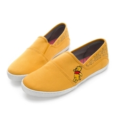 Disney 萌力全開 小熊維尼帆布懶人鞋-黃