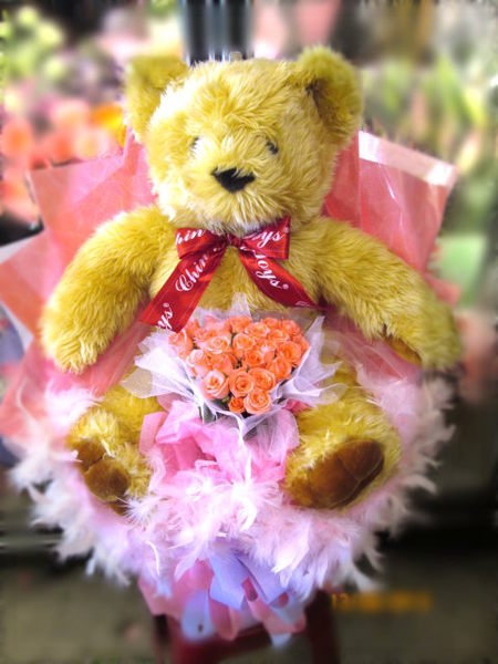 (YY-01)情意花坊超級商城永和花店~熊愛妳~可愛大熊抱心型玫瑰花束~全台配送2999元