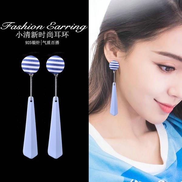 【免運到手價$98】耳飾品女氣質韓國百搭簡約藍色布藝條紋耳環個性長款流蘇吊墜