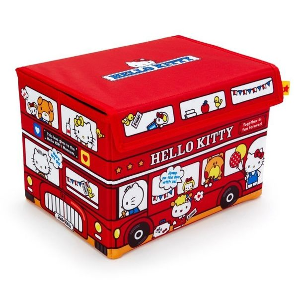〔小禮堂〕Hello Kitty 尼龍折疊掀蓋收納箱《紅白.巴士》收納籃.置物箱.玩具箱 4901610-47372