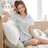 睡衣新款睡衣女夏棉質短袖韓版可愛薄款寬鬆可外穿兩件套家居服套裝滿699折89折
