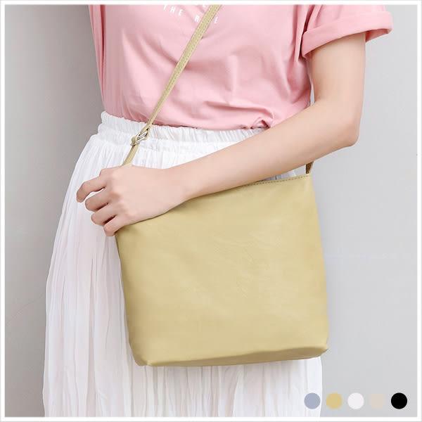 斜背包-極簡水果色軟皮革斜背包-共5色-A17172954-天藍小舖