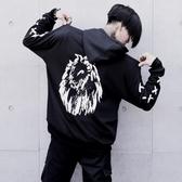 長袖T恤-連帽酷炫獅子印花時尚男上衣73pr20【巴黎精品】