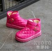 女童加絨鞋子保暖兒童雪地靴亮皮男童棉鞋橡膠軟底  京都3C