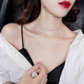 歐美夸張簡約鋯石氣質項鍊閃閃項圈脖子飾品日韓潮人短款頸鍊女