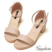 訂製鞋 簡約一字繫踝中跟涼鞋-艾莉莎ALISA【09B607】駝色下單區