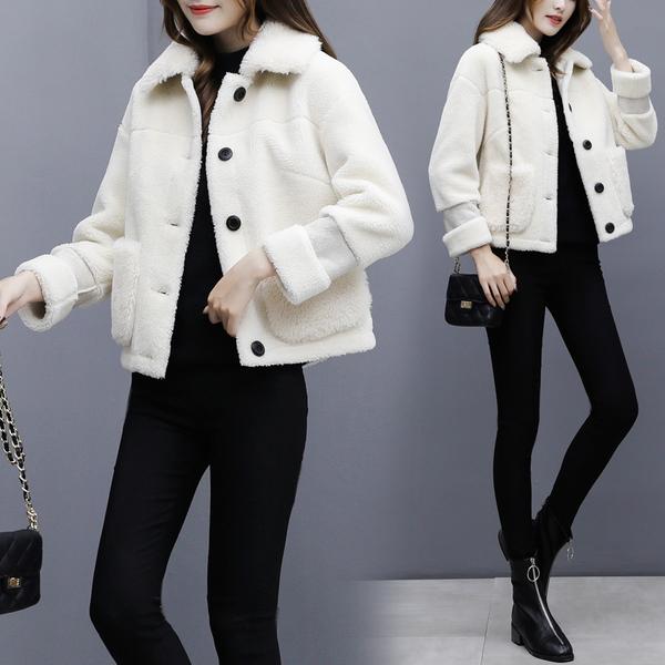 絕版出清 韓系羊羔毛寬鬆皮毛一體加厚短款單品上衣外套