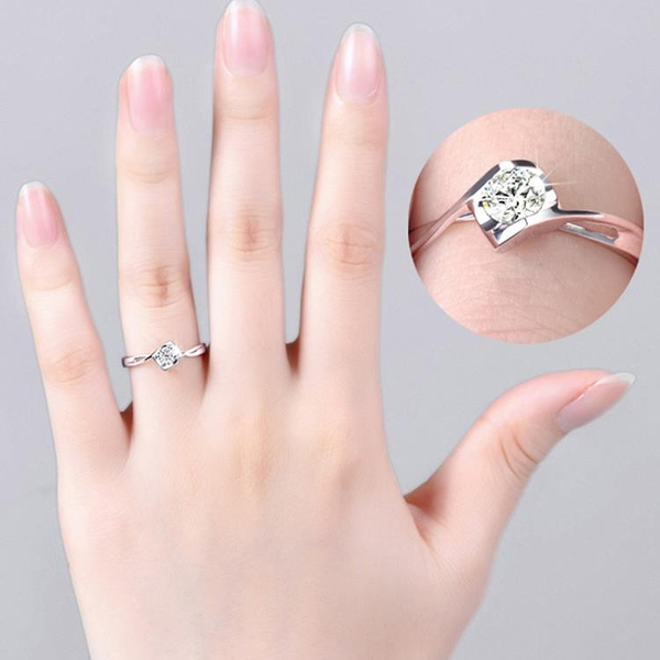 925純銀心形仿真鑚戒天使之吻鑲鑚求婚戒指女活口戒指禮物 喵小姐
