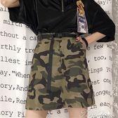 夏季女裝韓版寬鬆百搭高腰顯瘦a字裙短裙迷彩裙半身裙學生裙子潮  提拉米蘇
