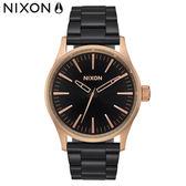 NIXON手錶 原廠總代理 A450-2481 THE Sentry 38 SS 黑 玫瑰金 潮流時尚鋼錶帶 男女 運動 生日 情人節禮物