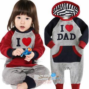 【DP910】shiny藍格子-我愛媽媽款/我愛爸爸款長袖連身雙色哈衣