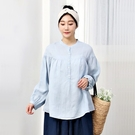 正韓 亞麻中山領半開襟襯衫 (8681) 預購